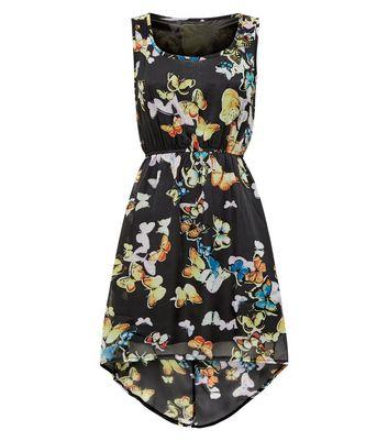 Mela Black Butterfly Print Chiffon Dip Hem Dress New Look