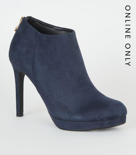 b39019286d6c ... Blue Suedette Platform Shoe Boots ...