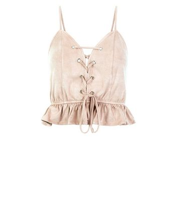 Stone Suedette Lace Up Crop Top New Look