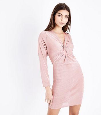 Pale Pink Twist Front Long Sleeve Dress