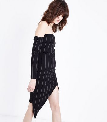 Black Stripe Asymmetric Bodycon Dress