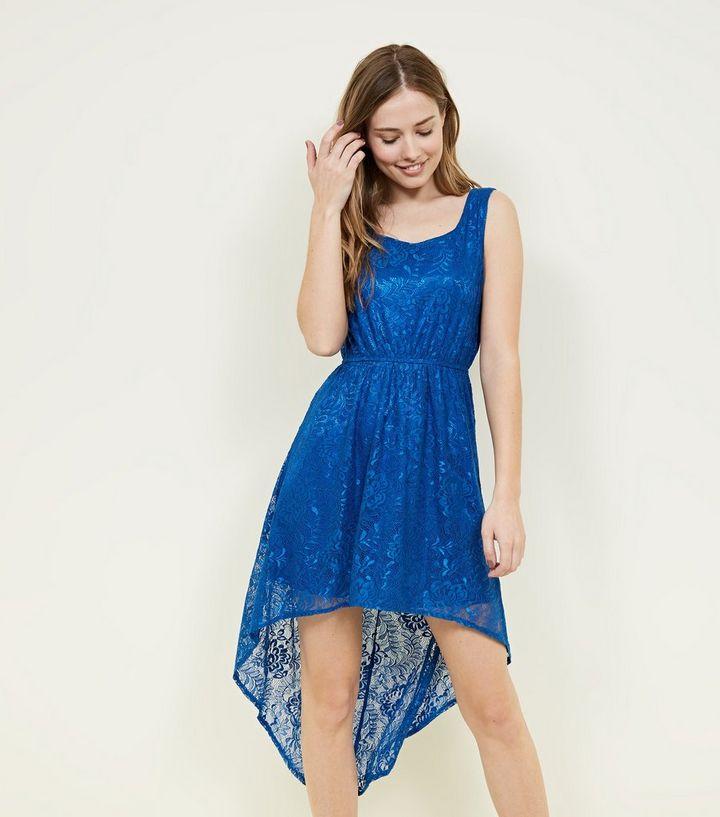 76147dfaf9d5 Mela Bright Blue Lace High Low Dress   New Look