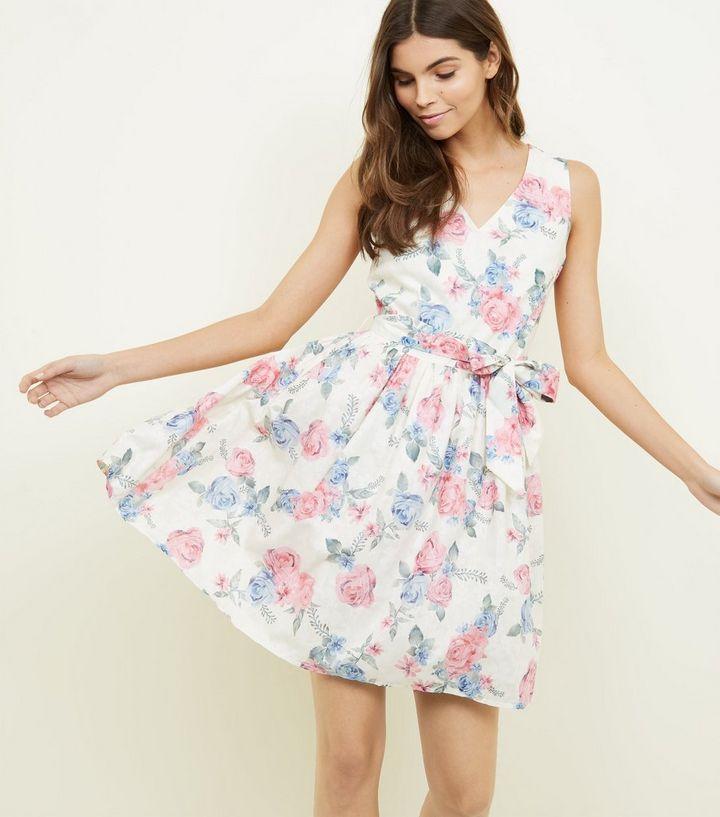 5fb45650ea8 Mela Rose Print V Neck Tie Waist Dress