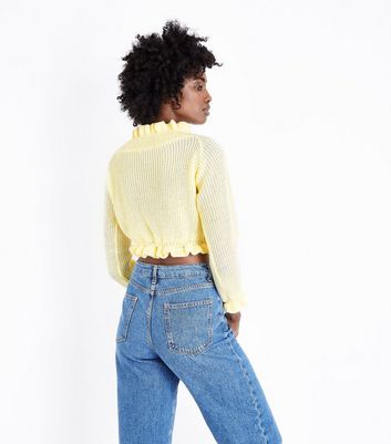 Cameo Rose Pale Yellow Frill Trim Crop Jumper New Look
