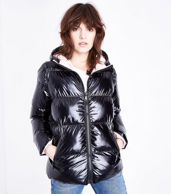 Cameo Rose Black High Shine Hooded Puffer Jacket New Look