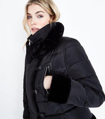 Cameo Rose Black Snood Collar Puffer Jacket New Look