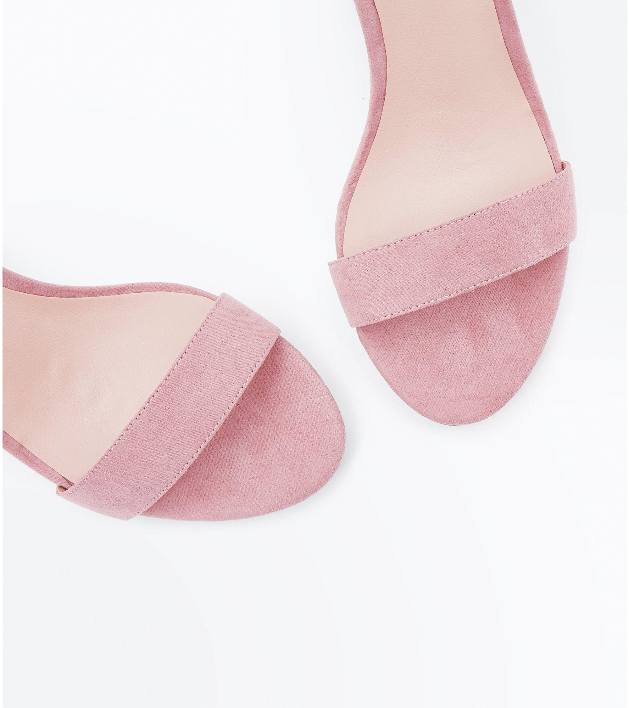 cc29352ec88 New Look Teens Pink Suedette Block Heel Sandals at £13.99