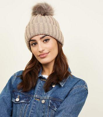 Mink Crystal Stud Bobble Hat New Look