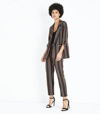 Cameo Rose Black Contrast Stripe Blazer New Look