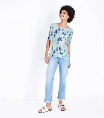 JDY Mint Green Floral Plissé T-Shirt New Look