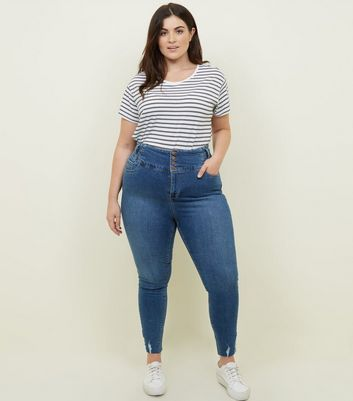 Curves Blue Mid Wash 4 Button High Waist Skinny Jeans
