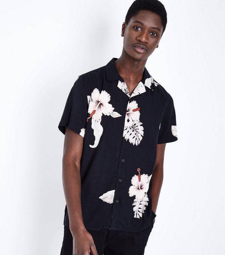 a72a9b91e Black Large Floral Print Short Sleeve Shirt