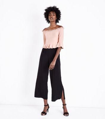 Shell Pink Frill Sleeve Bardot Neck Top New Look