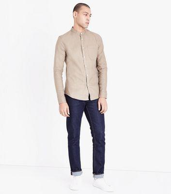 Stone Grandad Collar Oxford Shirt New Look