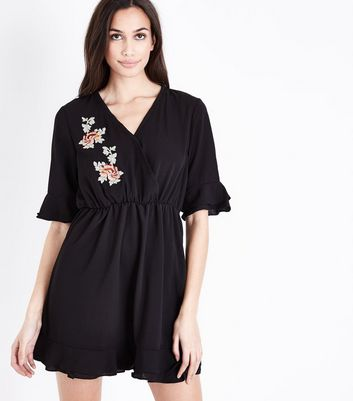 AX Paris Black Embroidered Wrap Front Dress