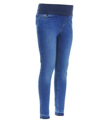 Maternity Blue Drop Hem Under Bump Jeans New Look