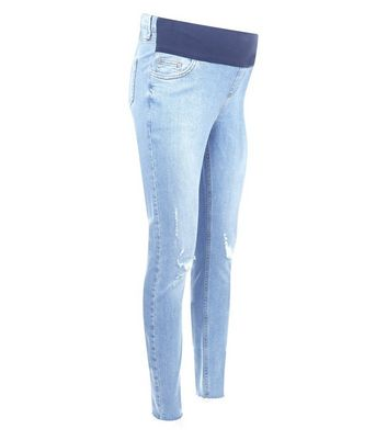 Maternity Pale Blue Ripped Raw Hem Under Bump Skinny Jeans New Look