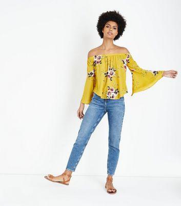 blue vanilla yellow floral bardot neck top new look