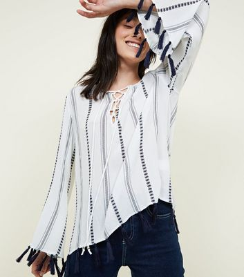 Blue Vanilla White Folk Tassel Trim Top