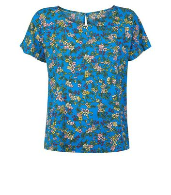 JDY Blue Floral Top New Look