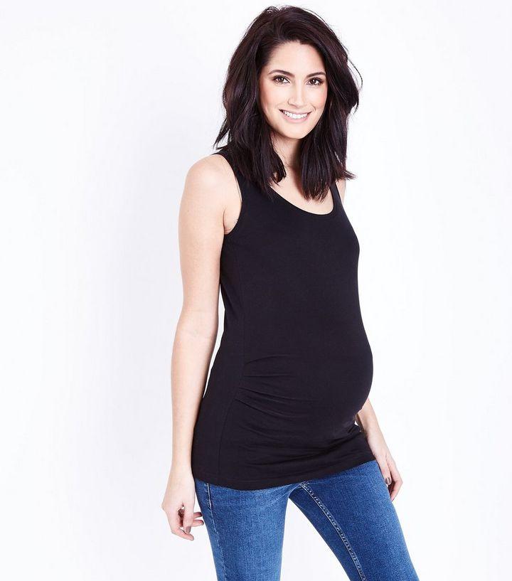 c2d7bed22e0db0 Maternity Black Scoop Neck Vest Top | New Look