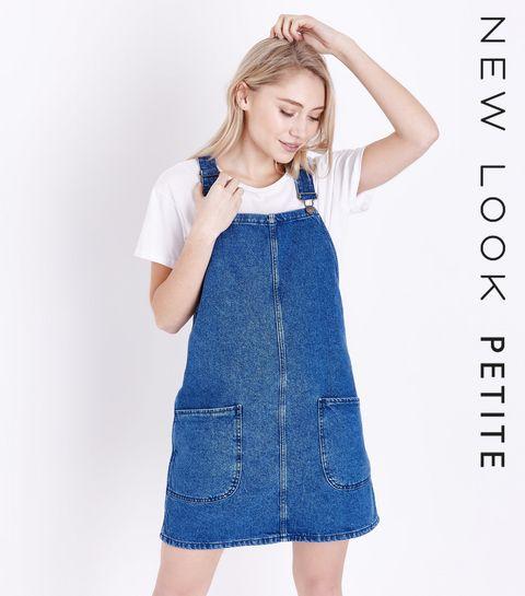 4207fb4c13a ... Petite - Robe chasuble en jean bleu ...