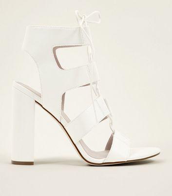 White Leather-Look Ghillie Block Heels