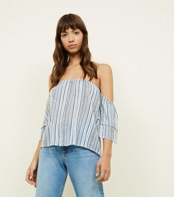 Blue Stripe Tiered Sleeve Bardot Neck Top