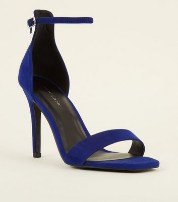 Bright Blue Suedette Square Toe Two Part Sandals