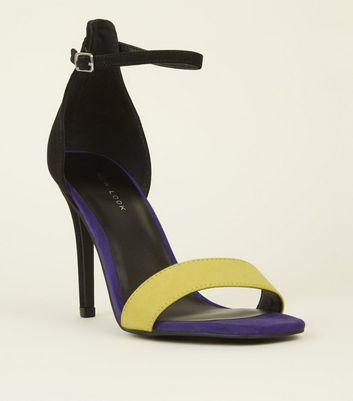 Purple Colour Block Square Toe Two Part Sandals