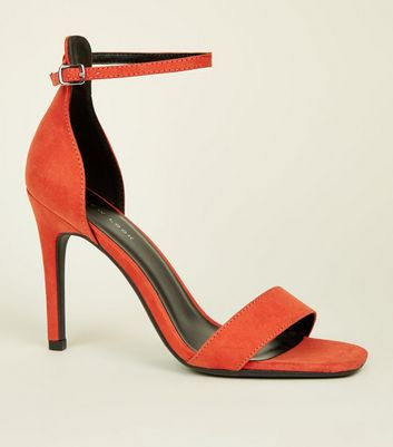Orange Suedette Square Toe Two Part Sandals