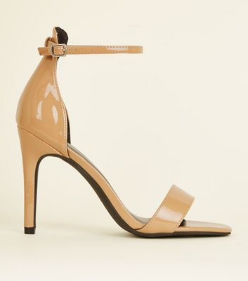 Camel Patent Square Toe Two Part Sandals