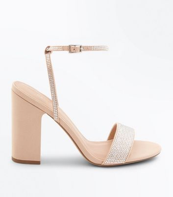 Nude Diamanté Strap Block Heeled Sandals by New Look
