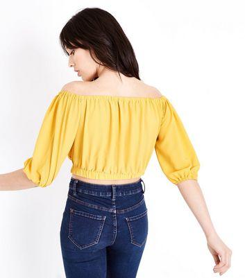 Mustard Balloon Sleeve Bardot Neck Crop Top New Look