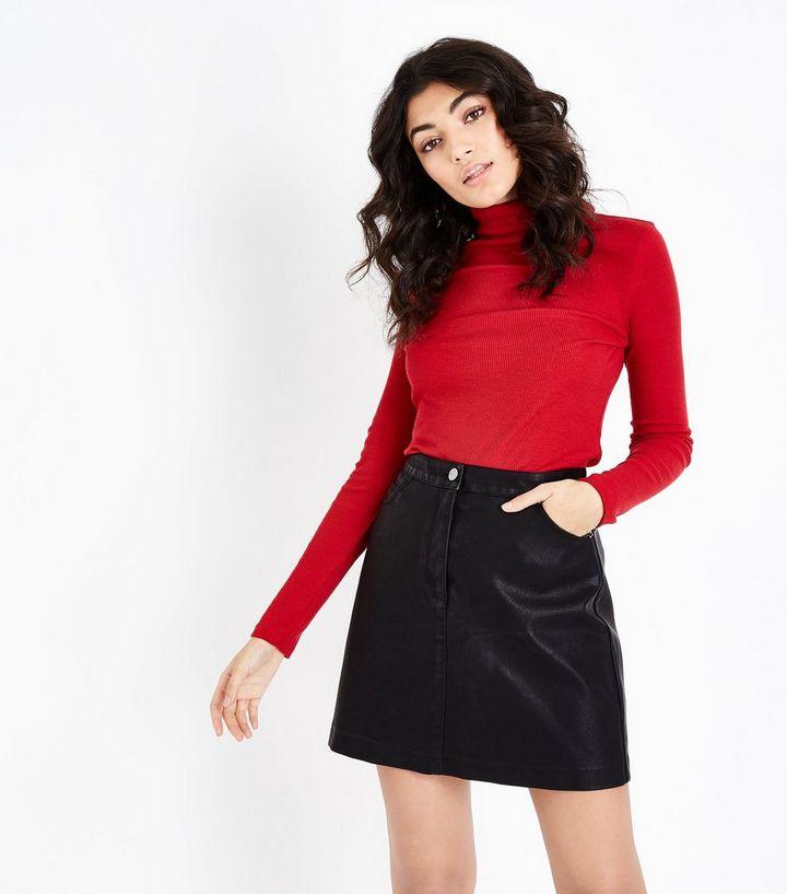 f6d7a90bc3 Black Leather-Look 5 Pocket Mini Skirt | New Look
