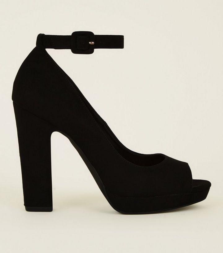 8d0e8391ca9 Black Suedette Peep Toe Platform Block Heels