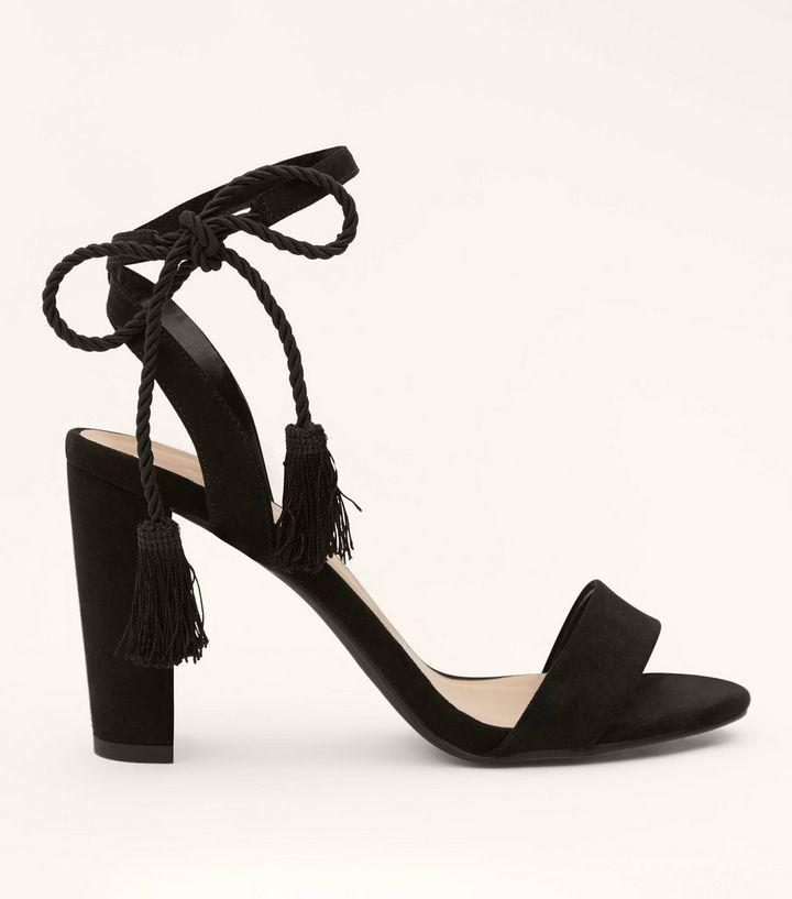 b2d679b44f1 Black Suedette Tassel Ankle Tie Block Heels