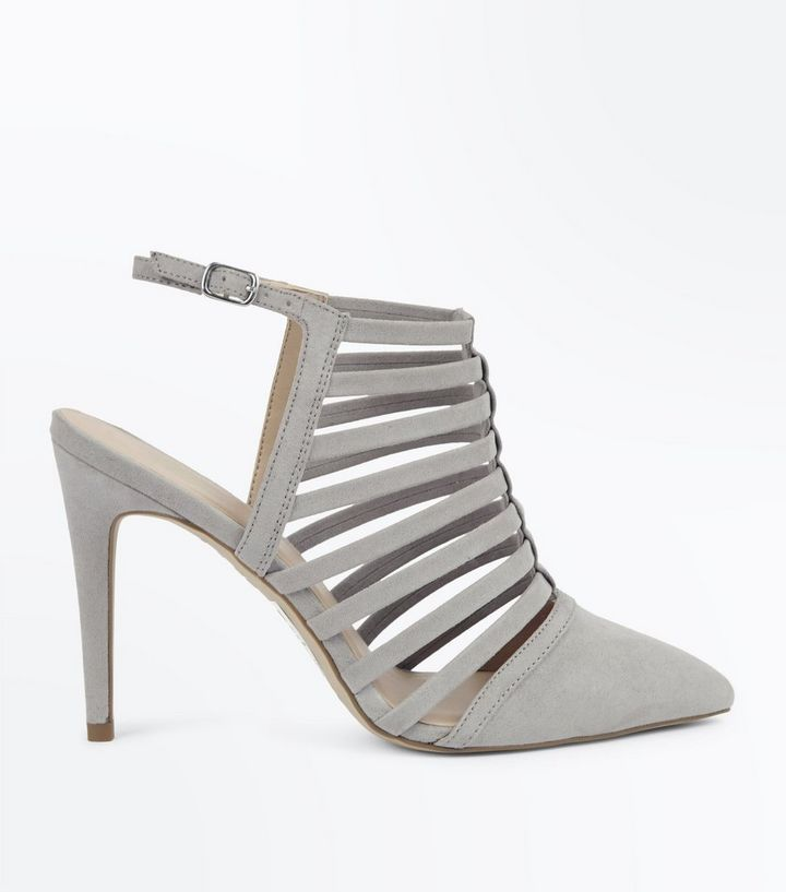 2386de770565 Grey Suedette Caged Pointed Stiletto Heels