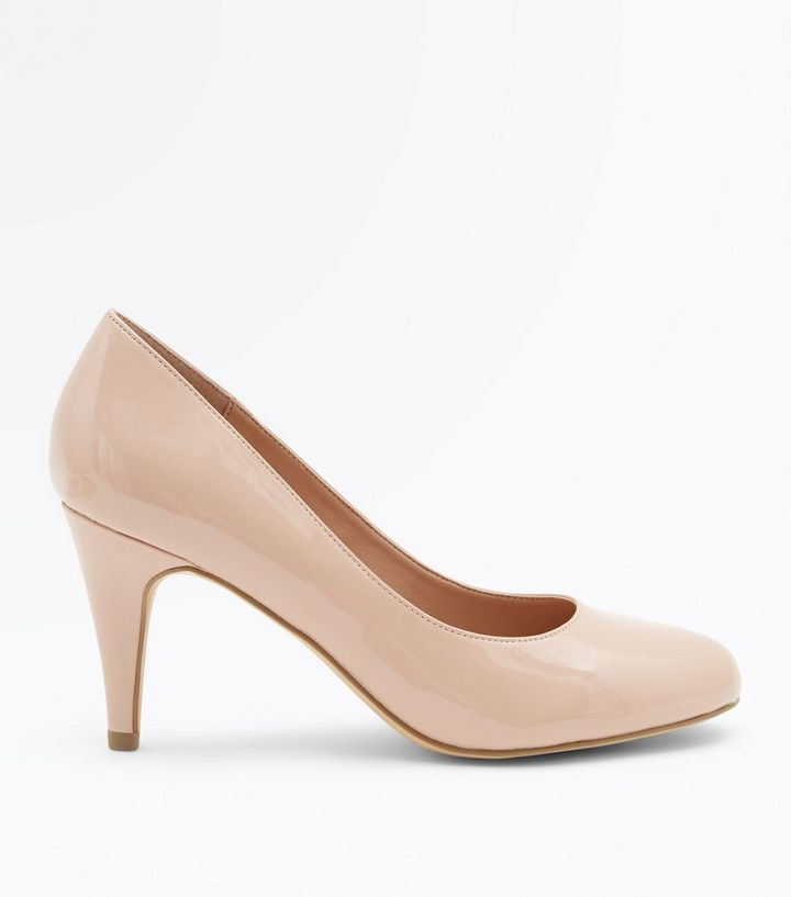 5b32f672ae Nude Patent Round Toe Court Shoes