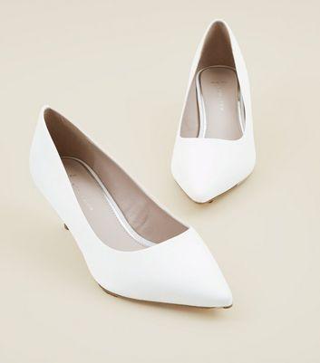 White Satin Kitten Heel Wedding Courts