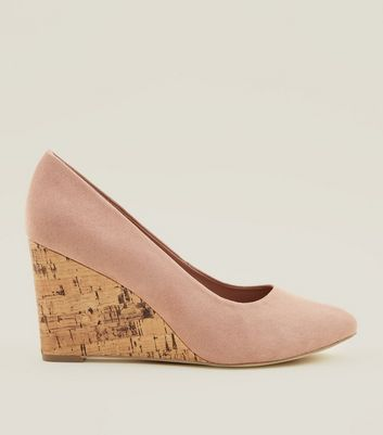 Wide Fit Nude Suedette Round Toe Wedges New Look
