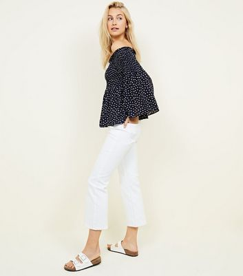blue vanilla navy spot print top new look