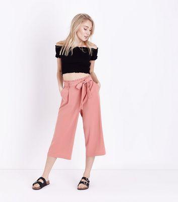 Petite Black Shirred Bardot Crop Top New Look