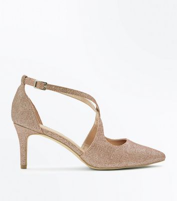 Wide Fit Rose Gold Glitter Cross Strap Courts