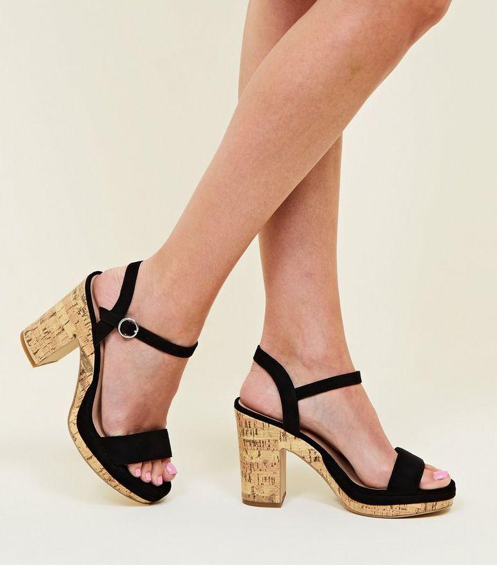 f043de26d7a Black Suedette Cork Block Heel Platform Sandals