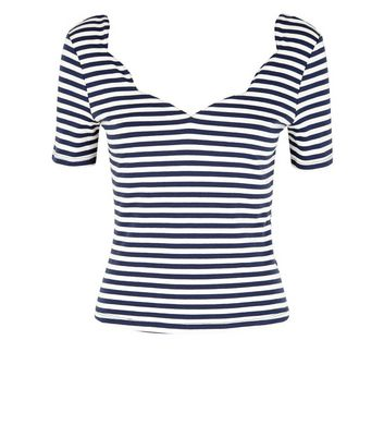 White Stripe Scallop Neck T-Shirt New Look