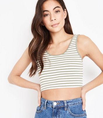 Olive Waffle Stripe Crop Top