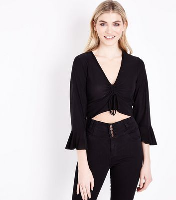 Cameo Rose Black Ruched Frill Sleeve Crop Top New Look