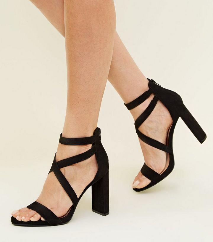 8629560de94e ... Black Suedette Strappy Block Heel Sandals. ×. ×. ×. Shop the look