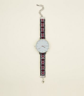 Silver Woven Strap Watch
